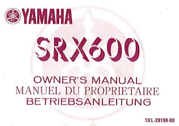 YamahaSRX600OwnersManual